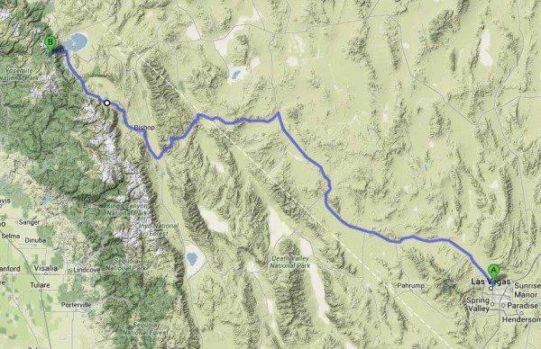 הדרך הקצרה בין וגאס ליוסמיטי